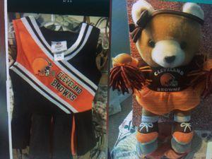Cleveland Browns little girls CHEERLEADER DRESS & Stuffed Cheerleader Teddy BEAR 12 inches long clean like new non smoke dress sz 18 months for Sale in Brecksville, OH