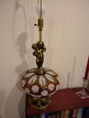 High quality two large Brass with Vintage Glass lamp 2 for $90 for Sale in Germantown, MD