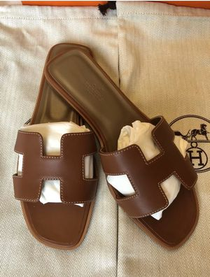 HERMÈS Oran H Sandals in Gold - Size 38/7 (Brand New In Box) for Sale in New York, NY