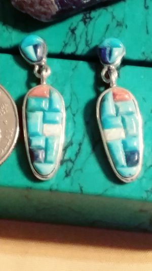 NWT- MULTI TURQUOISE/OPAL INLAY STERLING POST EARRINGS. for Sale in Palmetto, FL