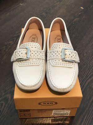 Tod's White Leather Studded Italian Shoes for Sale in West Palm Beach, FL