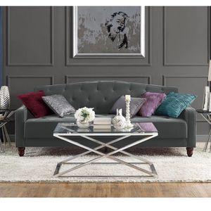 Novogratz Vintage Tufted Sofa Sleeper II - Grey Velour / Velvet Futon / Couch for Sale in San Diego, CA