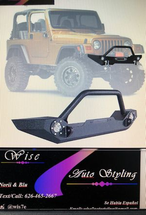 87-06 Jeep Wrangler TJ YJ Front Winch Bumper Guard LED Fog Lamps Lights Steel for Sale in South Gate, CA