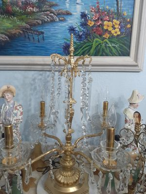 Antique french bronze and crystal lamp for Sale in Miami, FL