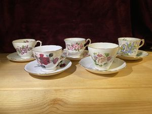 5 English Bone China Teacups and Saucers for Sale in Beaverton, OR