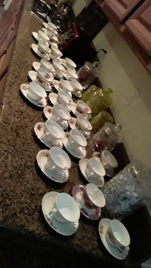 Cups and saucers sets perfect from Japan and Brazil perfect heavy never used 15 for 75 for Sale in Las Vegas, NV
