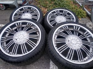 Chrome 20 in x 9.5in F5 rims (universal 5 lug 5x110 & 5x114.3) for Sale in Tacoma, WA