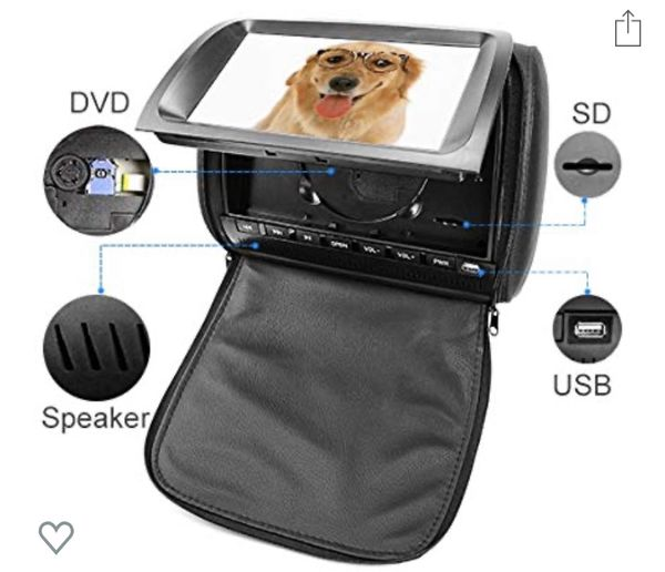 Car Headrest DVD Player Video Monitor with Leather Cover Zipper IR Wireless Headphones Games for Kids