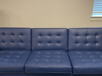 "91"" Blue Faux Leather Recessed Arm Sofa for Sale in Aloha,  OR"