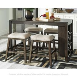 NEW, LIGHT BROWN 5 PC RECT COUNTER TABLE WITH STORAGE AND 4 STOOLS. for Sale in Santa Ana,  CA