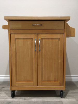 (Great Condition) ROLLING KITCHEN ISLAND CART / MICROWAVE CABINET / STORAGE CABINET for Sale in Mission Viejo, CA