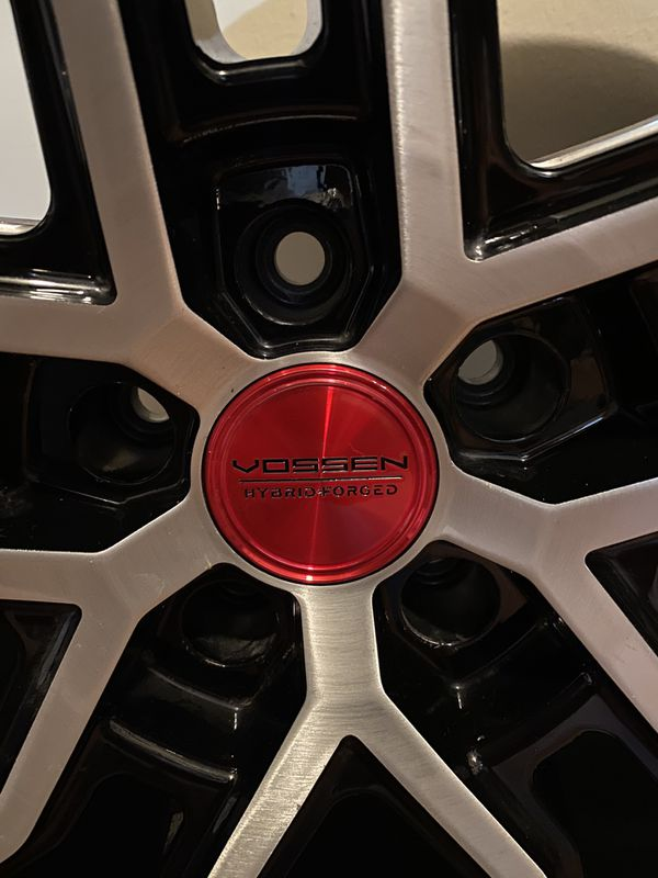 "1 Vossen HF2 20x10.5 5x120 Rims Wheels 20"" Silver Black Red"