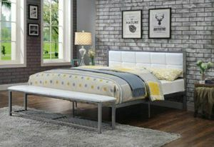 Full Size Metal Bedframe with Bench attached for Sale in Chino, CA