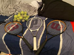 Tennis racket plus tennis balls for Sale in Gonzales, LA