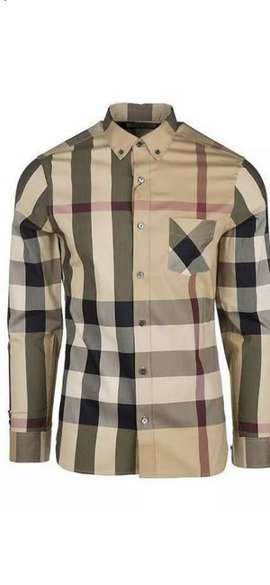 BURBERRY LONDON MEN'S THORNABY CAMEL CASUAL CHECK SHIRT for Sale in Inglewood, CA