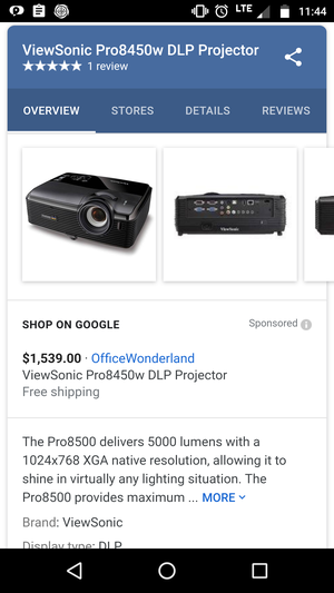Used ViewSonic pro8450w commercial Video projector for Sale in Atlanta, GA