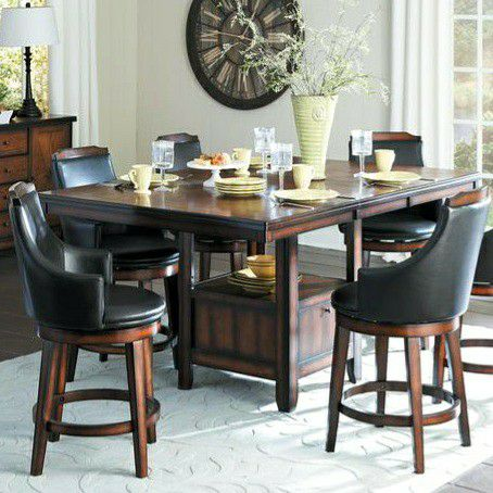 $39 DOWN SPECIAL] Bayshore Brown Extendable Counter Height Set