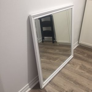 """Large 39"""" Heavy White Framed Mirror, and comes with mounting brackets. for Sale in Yorba Linda, CA"""