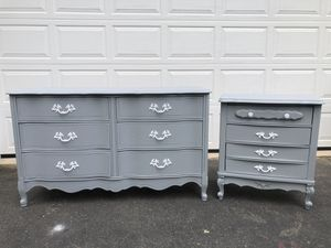 Bassett Furniture Solid Wood French Provincial Long Dresser With Nightstand Gray With White Handles for Sale in Woodbridge, VA
