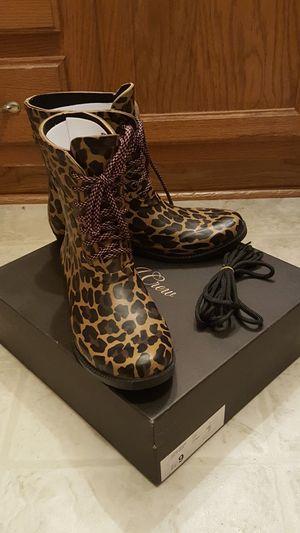 NIB J Crew Leopard Lace - Up Rain Boots for Sale in Rochester, MI