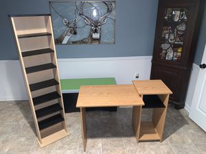 Computer desk AND bookcase display shelf SET for Sale in Purcellville, VA