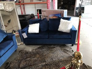Blue Velvet Sofa and Loveseat Couch Set for Sale in Dallas, TX