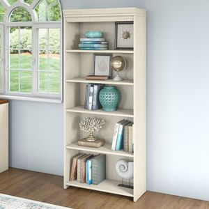 Bush Furniture Fairview 5 Shelf Bookcase in Antique White. 7A-9718 for Sale in St. Louis, MO