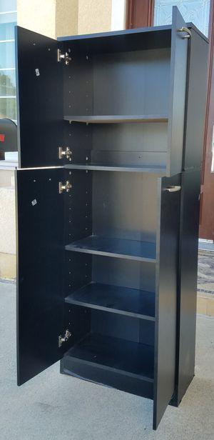 Black 2 Tier Petite Storage Cabinet Stand Unit Organizer + 5 Tier Adjustable Shelves INCLUDED lk Ikea for Sale in Monterey Park, CA