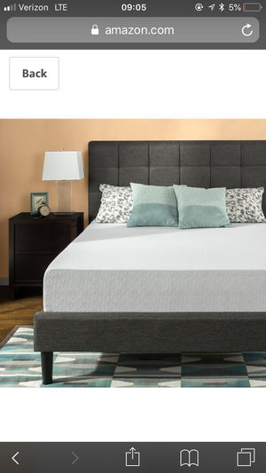 Gel infused 12 inch memory foam mattress with steel bed frame (queen) for Sale in Greenville, NC