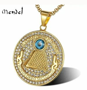 MENDEL Mens Gold Egyptian Rap Hip Hop Pyramid Eye of Providence Pendant Necklace for Sale in Orland Hills, IL