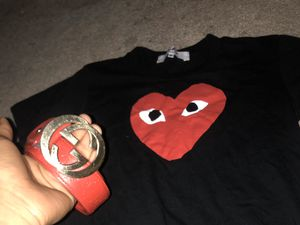 Designer gear , cdg shirt (medium) red Gucci belt size 36 for Sale in Burlington, MA