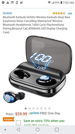 New! Deep base Bluetooth 5.0 waterproof earbuds for Sale in Lake Worth, FL