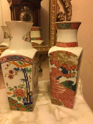 Pr beautiful mid century white porcelain Japanese marked hand painted vases mint for Sale in Placida, FL