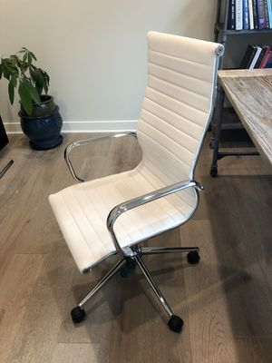 White Leather Desk Chair for Sale in San Diego, CA