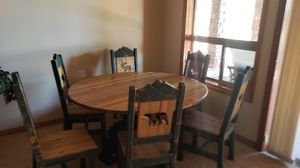 """60"""" round western dining table/6 chairs for Sale in Young, AZ"""