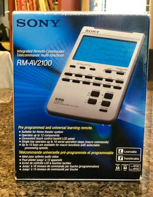 New! Sony integrates remote commander, model # RMAV2100. Lots of neat features. for Sale in Tolleson, AZ