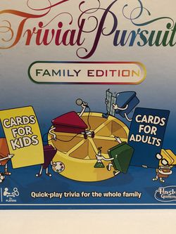 Trivial Pursuit Family Edition Board Game Cards for Kids & Adults Complete for Sale in Leona Valley,  CA