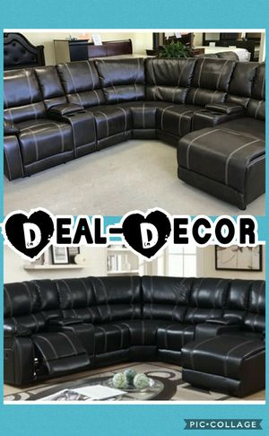 Reclining Leather Sectional with Chaise for Sale in Marietta, GA