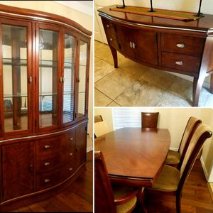 Solid wood brown dining set: table/6 chairs, hutch/cabinet, and front hallway console table for Sale in Apopka, FL