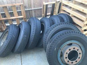 Semi tractor trailer rims and tires and lug nuts , new used on one road trip for Sale in Santee, CA