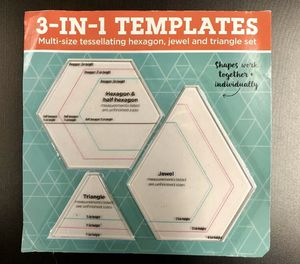 3-in-1 Quilting/Paper Crafting Templates Hexagon, Half Hexagon, Jewel & Triangle for Sale in Rives Junction, MI
