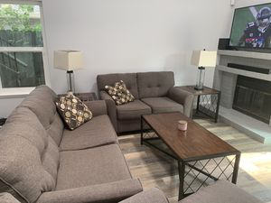Tibbee Sofa Sleeper, Love Seat, Chase Lounge, Coffee Table, (2) End Tables, and (2) Lamps for Sale in Sacramento, CA