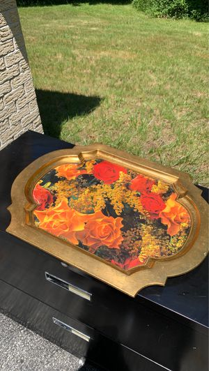Large Gold Floral Serving Tray for Sale in Rexford, NY