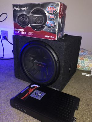"""12"""" pioneer sub with box, Sound Stream 1000wat amp, 6 1/2"""" 4way speakers for Sale in Castro Valley, CA"""