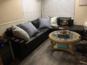 Black L-Shaped Sectional Sofa for Sale in Lake Forest, CA