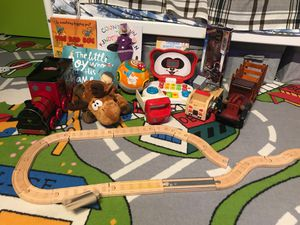 Toy bundle including two battery operated toys (kids laptop and V-tech learning ball, 4 books, Star-lord figure, wooden railroad, wooden cars) for Sale in New York, NY