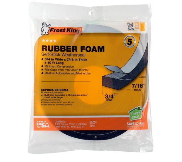Frost King E/O 3/4 in. x 7/16 in. x 10 ft. Black High-Density Rubber Foam Weatherstrip Tape