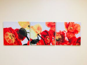 Red Poppy Flowers 3pc Canvas Wall Decor Painting for Sale in Kirkland, WA