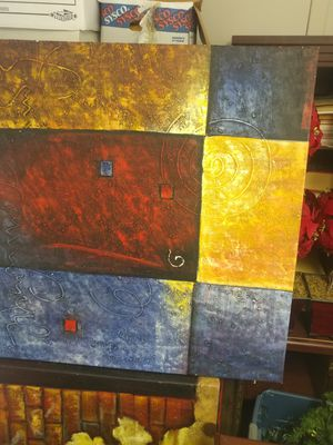 2 large matching geometric canvas wall art for Sale in New Port Richey, FL