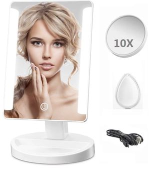 LED Lighted Makeup Mirror - Leadpo Dimmable Vanity Mirror with Detachable 10X Magnification Spot Mirror, Smart Touch Screen Travel Cosmetic Mirror wi for Sale in Bound Brook, NJ